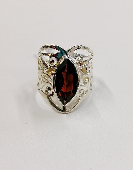 925 Silver Garnet Marquise Wish Ring