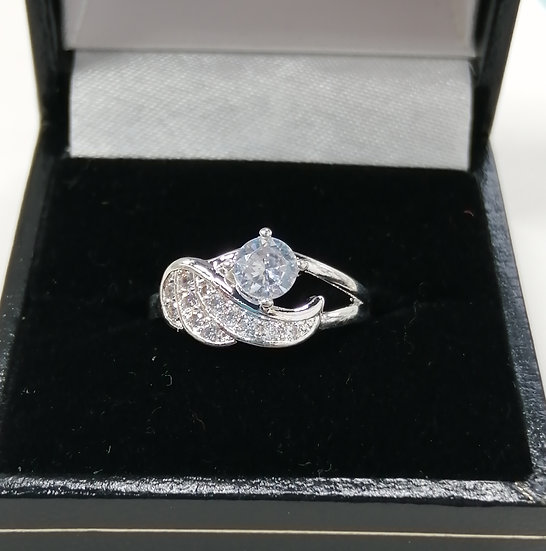 Silver CZ Angel Wing Ring