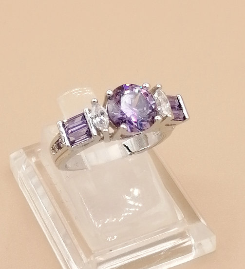 Silver Purple & White Marquise CZ Ring