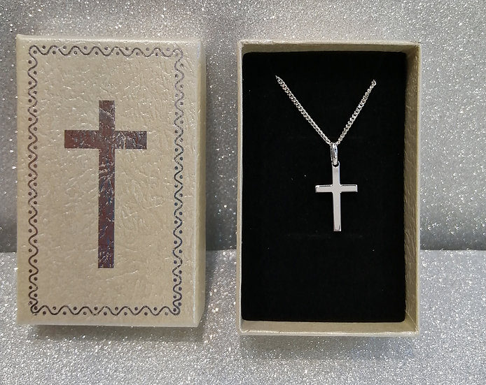 925 Sterling Silver Cross & Chain, Gift Boxed
