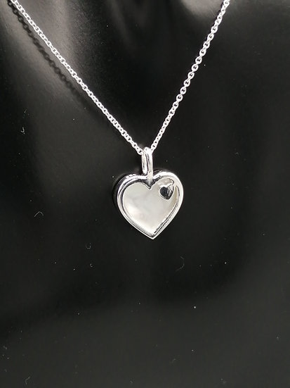 925 Silver Mother of Pearl Hearts Pendant & Chain