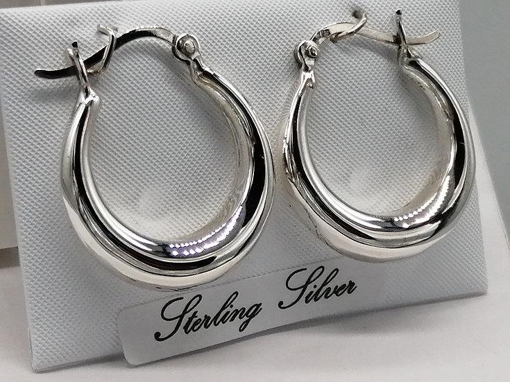 925 Silver Graduated Hoop Earrings