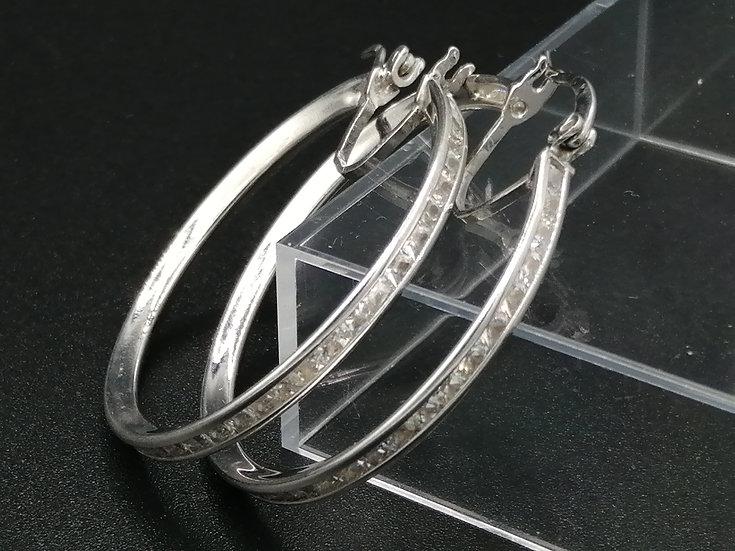 925 Silver Princess CZ Hoop Earrings
