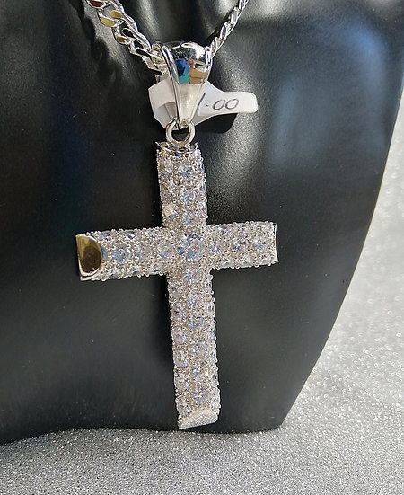 925 Sterling Silver CZ Cross with Heart Filigree Back