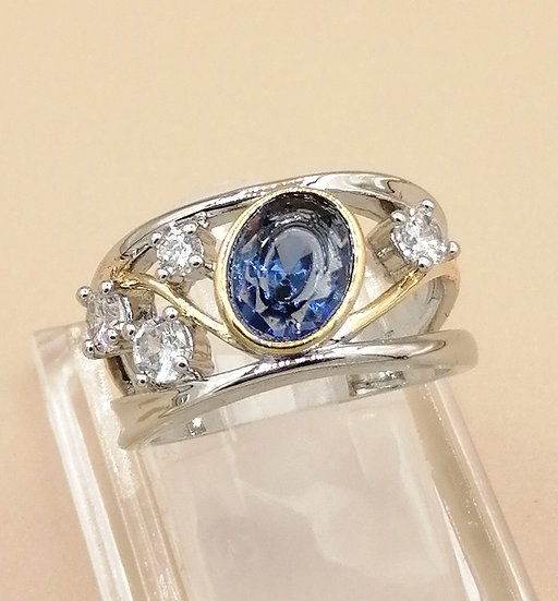 Silver & Gold Sapphire Blue CZ Wave Ring