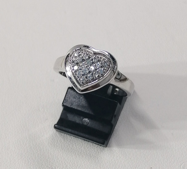 925 Silver CZ Heart Ring