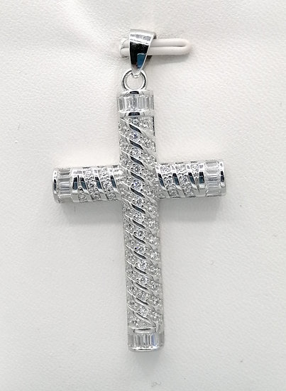 925 Silver Dome Spiral Iced CZ Baguette Tip Cross