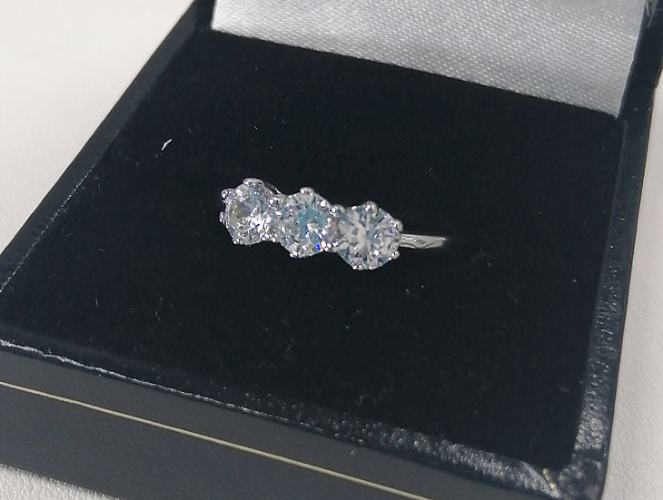 925 Silver 3 Stone CZ Solitaire Ring