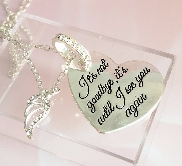 Silver Crystal Heart Memory Tag & Chain