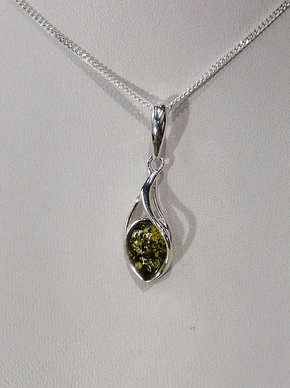 925 Sterling Silver Green Amber Drop Pendant & Chain