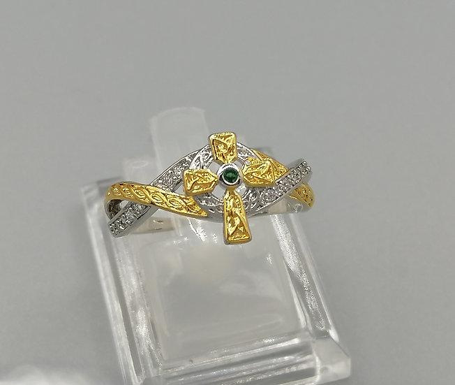 Silver & Gold Emerald & White CZ Ring