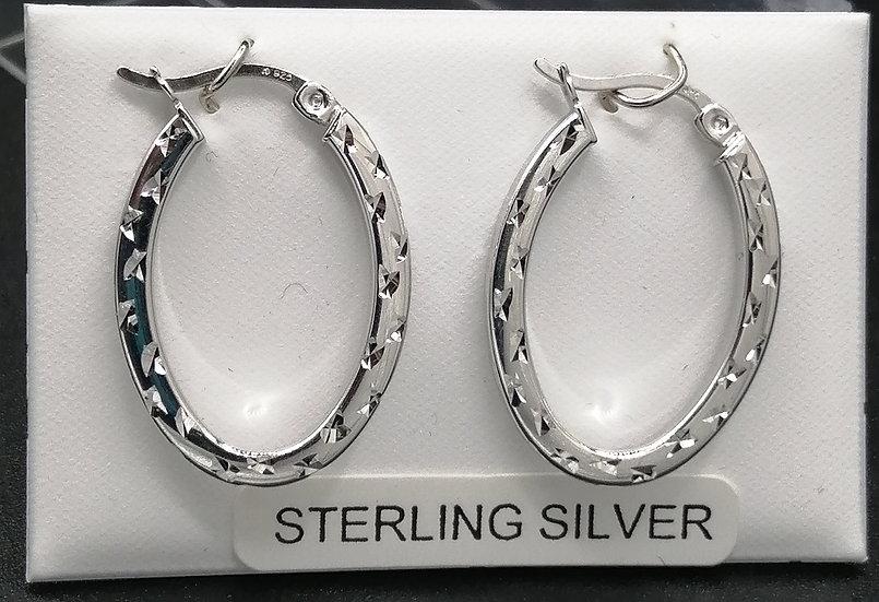 925 Silver Diamond Cut Oval Hoop Earrings