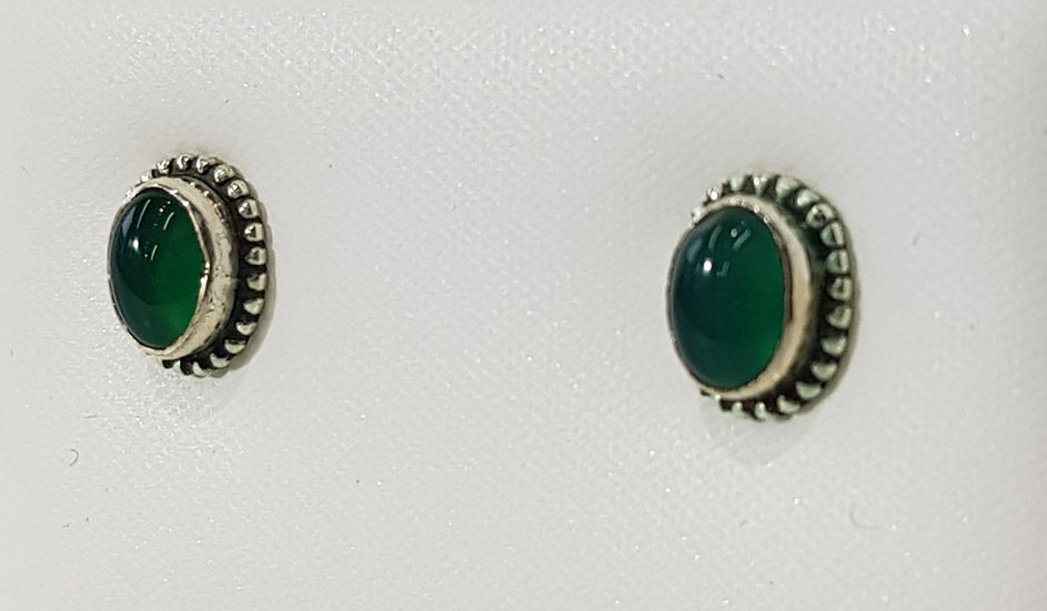925 Sterling Silver Green Agate Dome Earrings