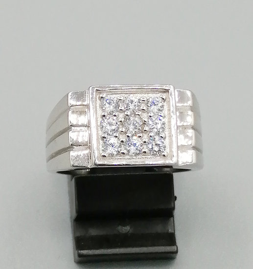 925 Silver CZ Iced Square 3 Lines Ring