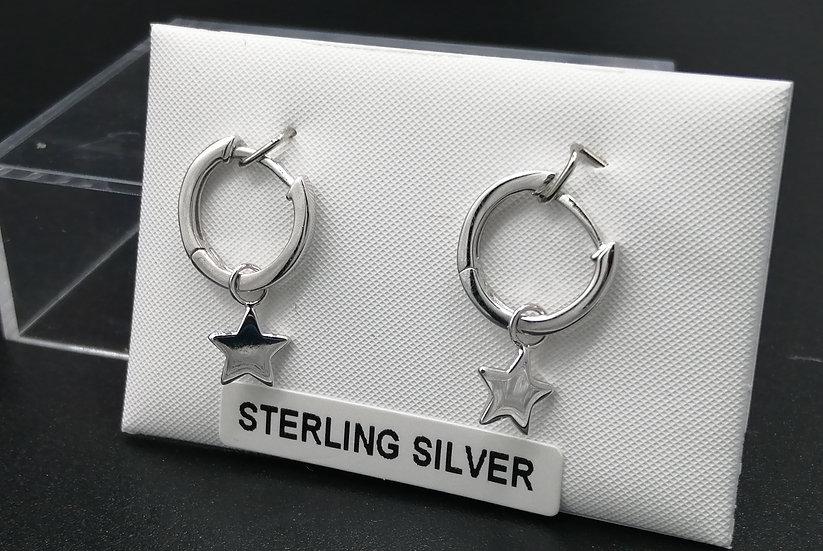 925 Silver Star Huggie Earrings