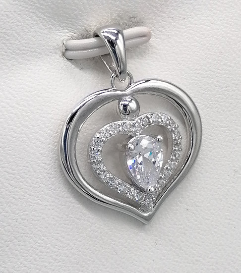 925 Silver CZ Iced Double Heart Pendant