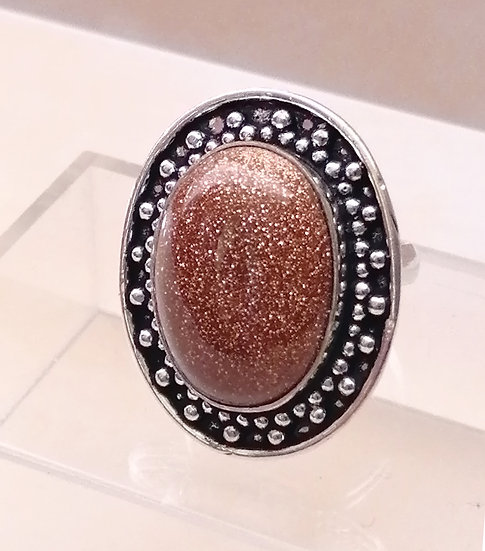 Goldstone Oval Dome Ring