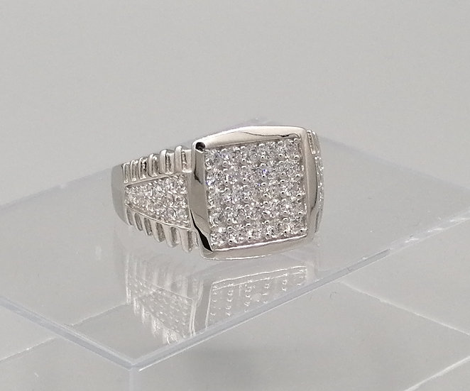 925 Silver Iced Cubic Zirconia Square Ring