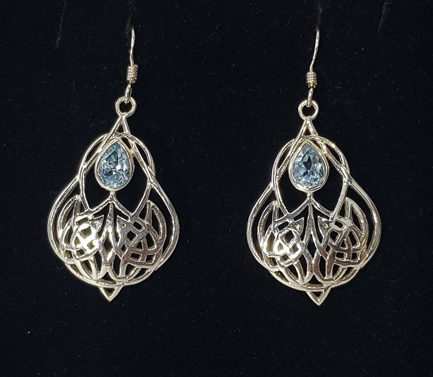 925 Sterling Silver Blue Topaz Celtic Drop Earrings