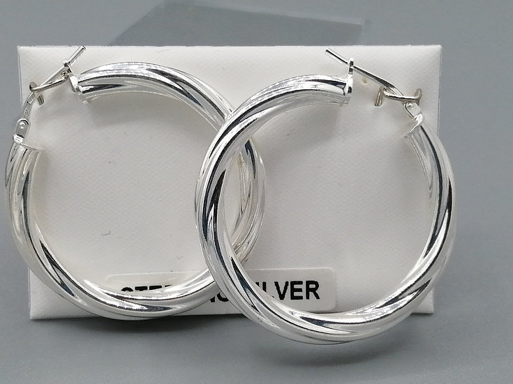 925 Silver Thick Cable Twist Hoop Earrings