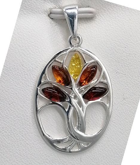 925 Silver Mixed Amber Lotus Flower Oval Pendant