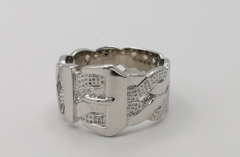 925 Silver Patterned Buckle Ring