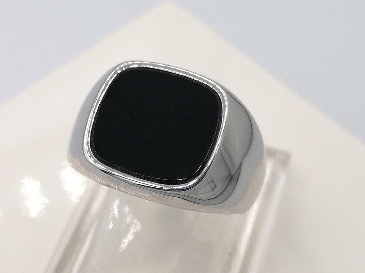 925 Silver Onyx Signet Cushion Ring