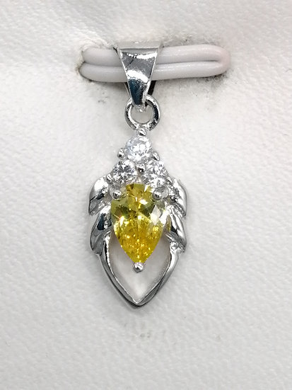925 Silver Citrine Yellow CZ Petal Pendant
