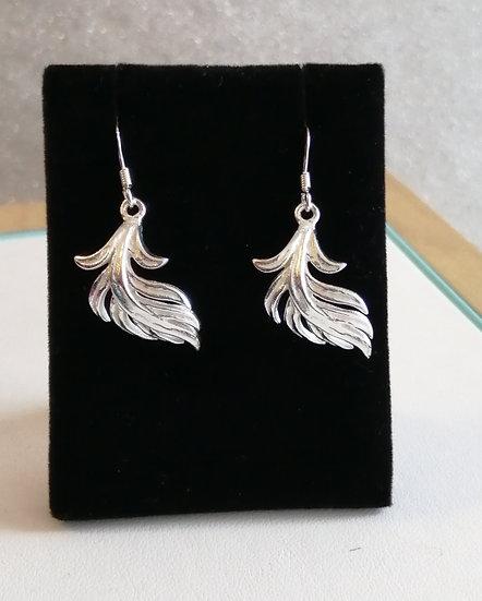 925 Silver Feather Drop Earrings