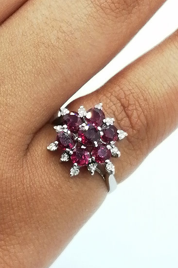 18ct White Gold Ruby & Diamond Sparkle Cluster Ring