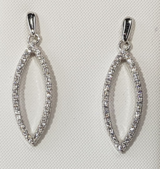 925 Sterling Silver CZ Leaf Drop Earrings
