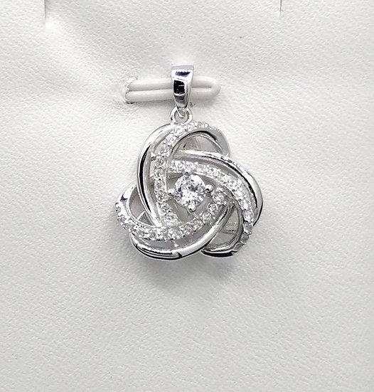 925 Silver CZ Knot Pendant