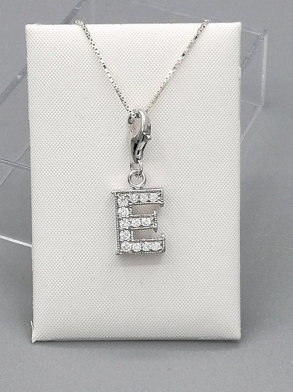 925 Silver Iced CZ Initial 'E'