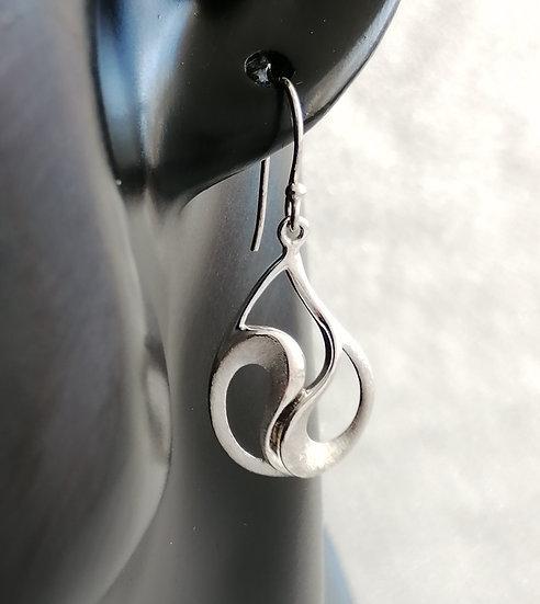 925 Sterling Silver Matt Fancy Tear Drop Earrings