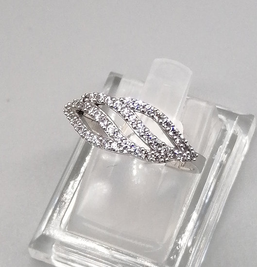 925 Silver CZ Iced Wave Ring