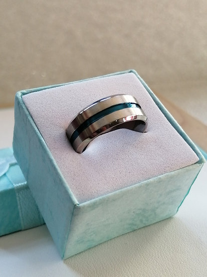 8mm Brushed Blue Stainless Steel Band Ring