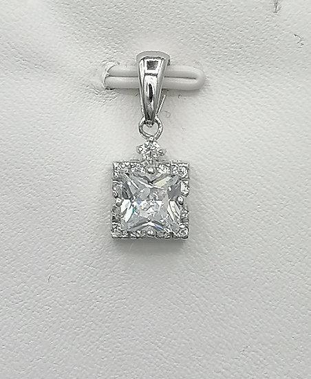 925 Silver CZ Iced Square Pendant