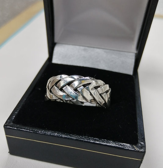 925 Silver Woven Band Ring