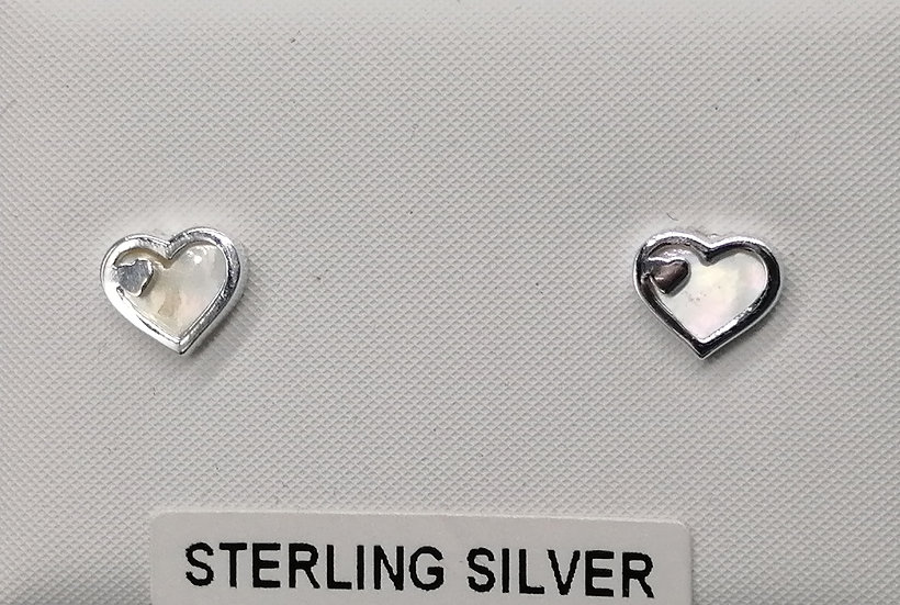 925 Silver Mother of Pearl Hearts Earrings