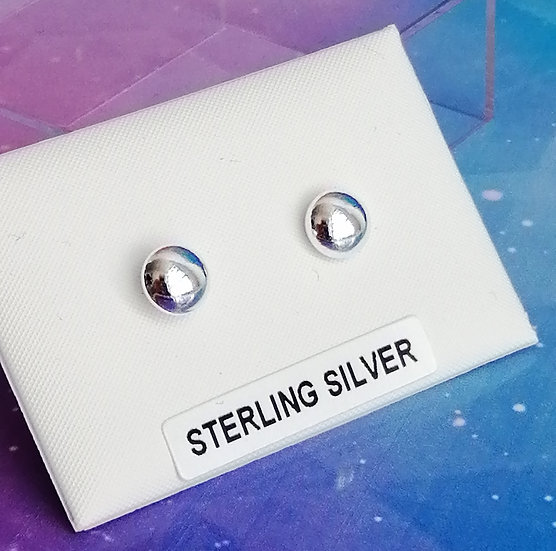 925 Silver Polished Button Bead Studs