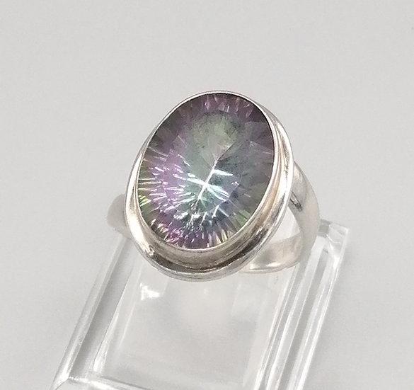 925 Silver Oval Mystic Quartz Ring