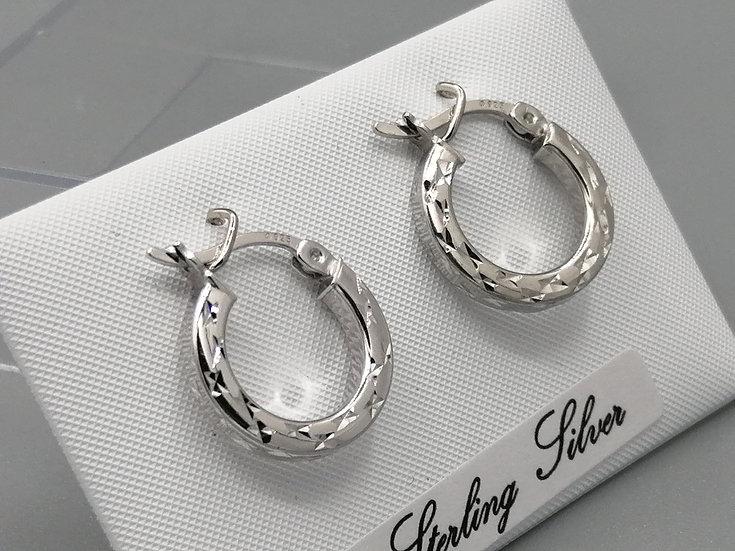 925 Silver Flat Diamond Cut Hoop Earrings