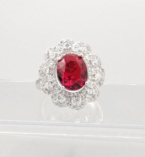 Ruby Red & White CZ Flower Ring