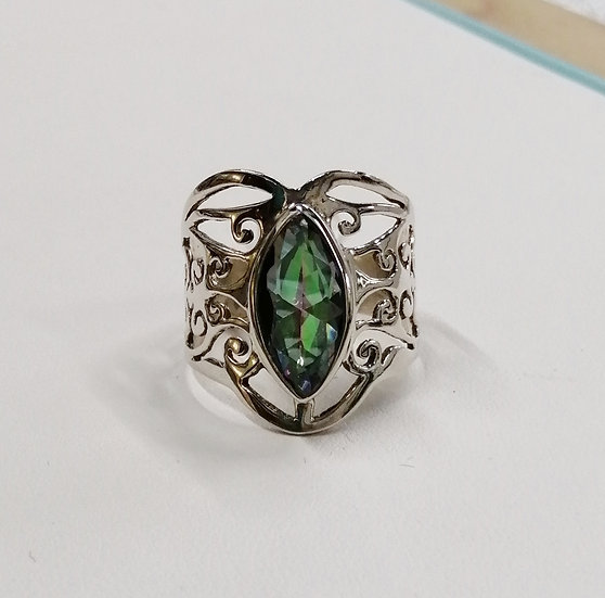 925 Silver Mystic Topaz Marquise Wish Ring
