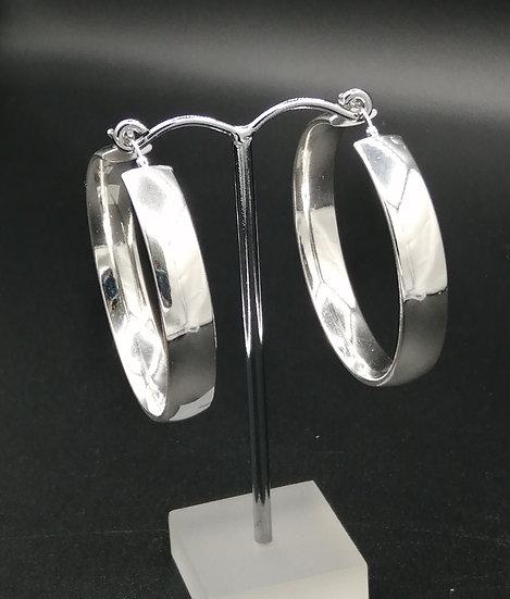 925 Silver Polished Wide Hoop Earrings