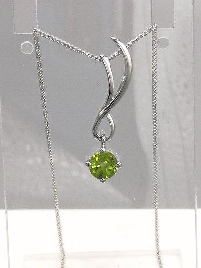 925 Silver Peridot Split Top Wave Pendant & Chain