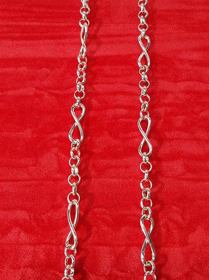 925 Sterling Silver Belcher & Fancy 8's Ankle Bracelet