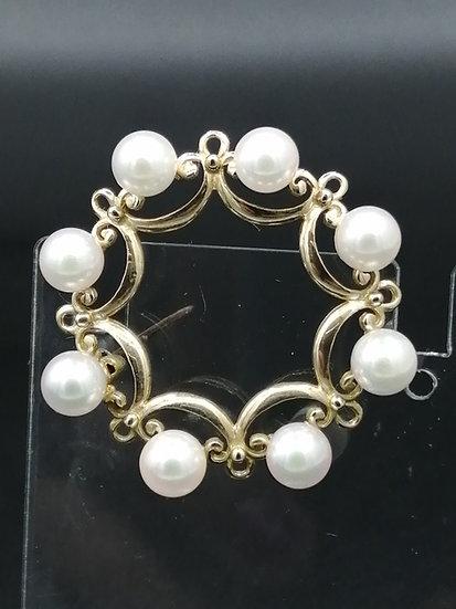 9ct Gold Pearl Circle of Life Brooch