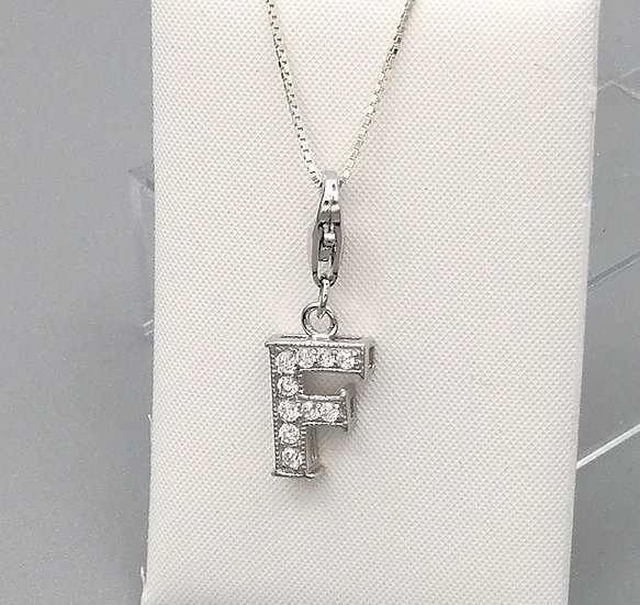 925 Silver Iced CZ Initial 'F'