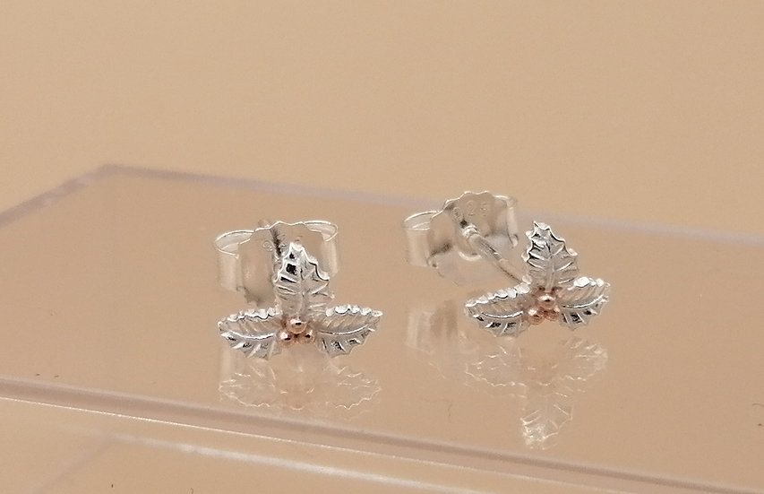 925 Silver Holly & Berries Stud Earrings